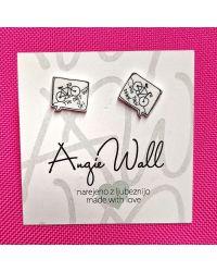 Ročno izdelani unikatni uhani Bike Angie Wall